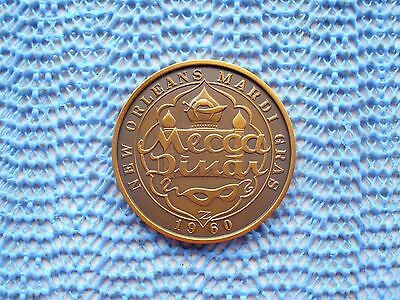 1968 Krewe of MECCA / A World of Fantasy antique bronze Mardi Gras doubloon