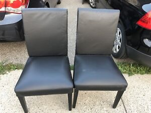 IKEA Leather Dining Room Chairs - Black
