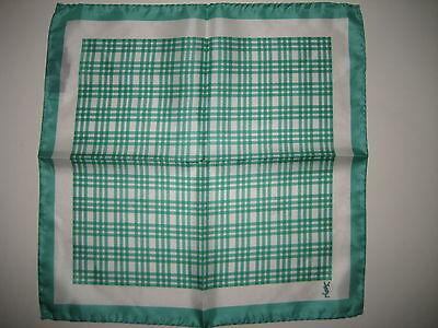 $140 NEW Yves Saint Laurent YSL Green Silk Handkerchief Pocket Square 13 x 13