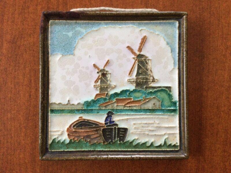 Royal Delft Porceleyne Fles Cloisonne Polychrome Dutch Wall Tile Windmills Boat
