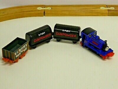 VTG 1996 ERTL Thomas The Tank Engine & Friends SIR HANDEL w 3 Cars GUNPOWDER//