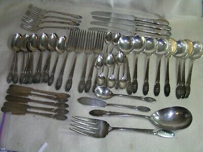 Silver Plated W Monogram with Floral Motif Antique Butter Spreaders Kitchen Utensil Set of 4 The Old Company Plate Stamped