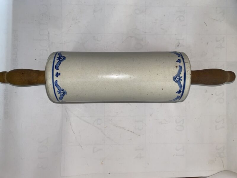 Vintage Western Stoneware Rolling Pin Blue Gray Floral Design Band Wooden Handle