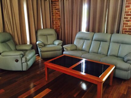 Leather lounge suit with coffee table Mona Vale Pittwater Area Preview