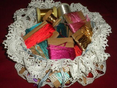 ****Beautiful Antique&Vintage Original Lot of  Silk&Metallic Threads *****