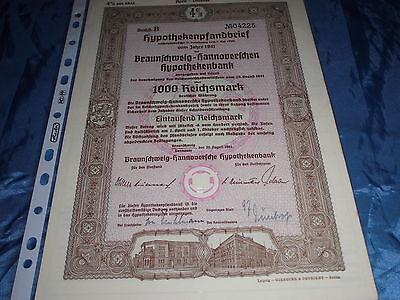 324 : historisches Wertpapier , Hannover - Braunschweig , 30. August 1941