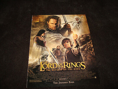 """LORD OF THE RINGS RETURN OF THE KING Oscar ad with cast """"The Journey Ends"""""""