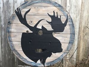 HUGE  moose silhouette on vintage wooden pallet