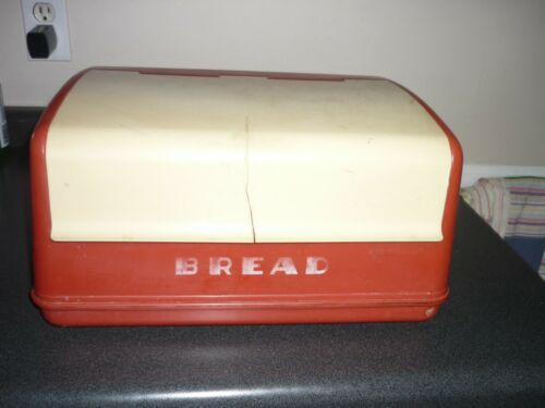 Vintage  Red/Cream Plastic Bread Box  Mid Century Modern Retro