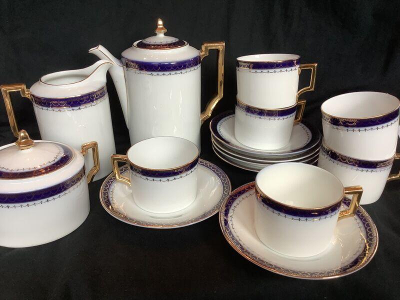 Vintage 17 Piece Porcelain Schonbach Prague Blue Gold Coffee Set Service For 6