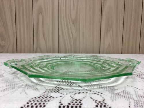 VINTAGE GREEN DEPRESSION GLASS CAKE PLATE - LE SMITH MT. PLEASANT PATTERN