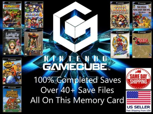Unlocked GameCube Memory Card 40+ Save Files Completed GameCube Save Smash Mario