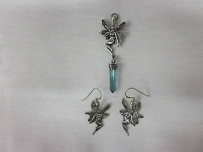 Sterling Silver 925 Fairy Earrings and Crystal Pendant Set