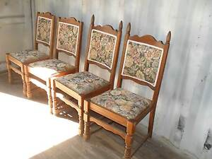 FOUR  TIMBER  CHAIRS  WITH  TAPESTRY  AND  BRIAD Richmond Hawkesbury Area Preview