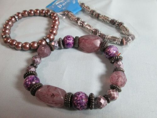 Bracelet Lot of 3: Silver Tone Stretch / Glass & Acrylic / Purple / Rhinestones