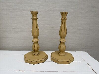 Hand Painted Vintage Wooden  Candlesticks in Mustard