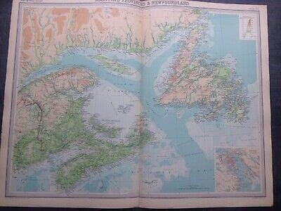MARITIME PROVINCE & NEWFOUND LAND WORLD MAP,TIMES ATLAS,BARTHOLOMEW,EDINBURGH,