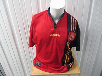 VINTAGE ADIDAS SPAIN NATIONAL FOOTBALL TEAM XL SEWN JERSEY 1996/98 KIT WORLD CUP image