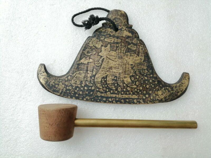 Myanmar Gong, Burmese Kyizi Gong or Burma Flat Bell Temple Bell =9.5 Inch.