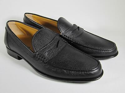 A. Testoni Men Black Leather moccasin loafer Shoes 9.5 US/ 42.5 EU/ 8.5 UK NEW