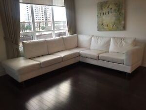 Faux Leather White Sectional Sofa for SALE