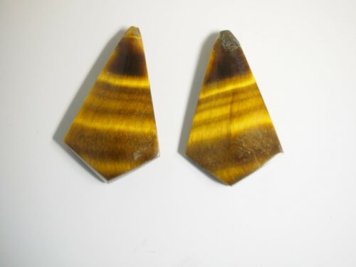 Carved Pair of Tiger Eye Triangle Shield Cabochons 35.55 carats  M-318