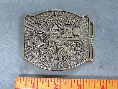 John Deere WATERLOO BOY Tractor Brass BELT BUCKLE Limited Edition 1914-1984