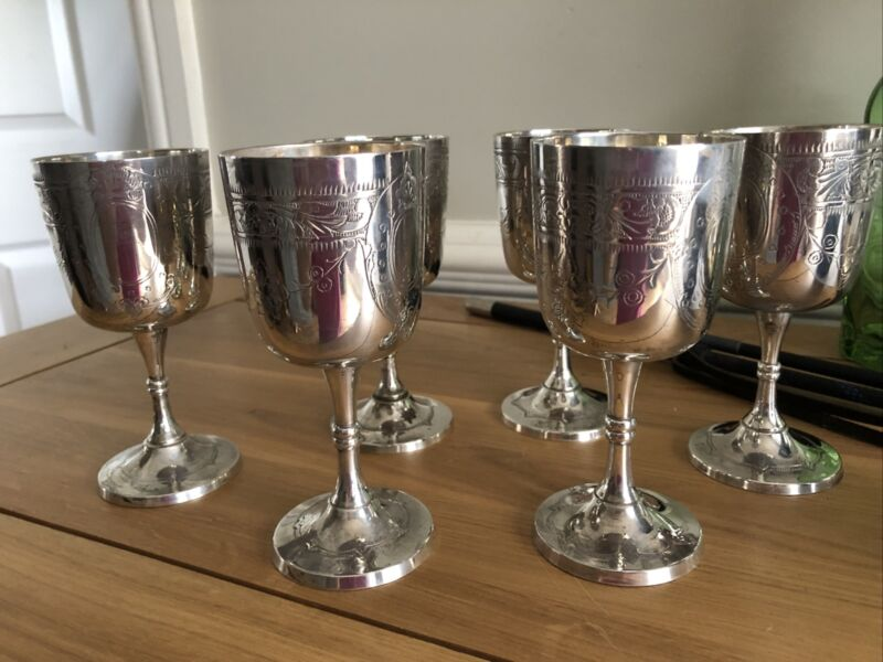 Set of Six Vintage Silver Plated And Etched Goblets.