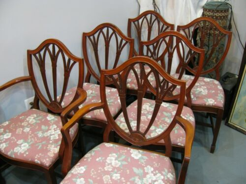 Mahogany Dining Chairs - Shield Back - SIX - 2 Arm 4 Side - Very Sturdy & Clean