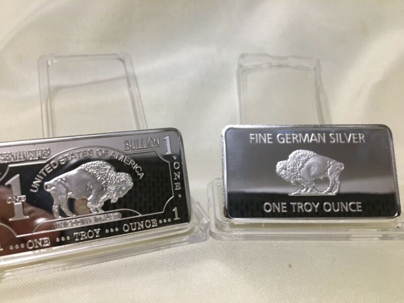 "1 OZ ""German Silver"" Buffalo Art Bar"