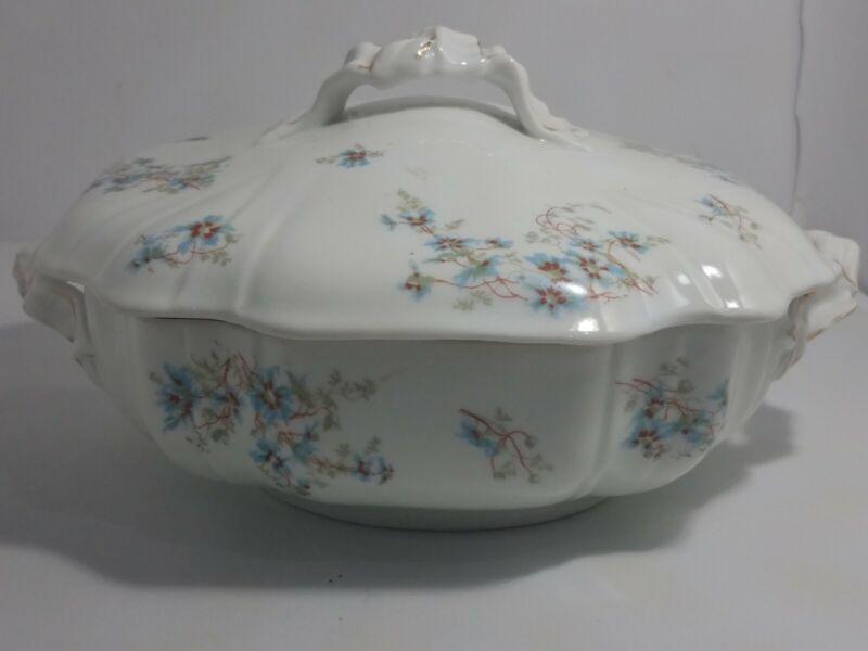 Leonard Vienna Austria VTG Covered Serving Dish/Bowl Blue Flowers Gold Trim