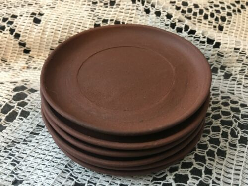 Antique Chinese 6 plates Saucers Yixing Zisha Red clay Rare Use w/ Tea Pot
