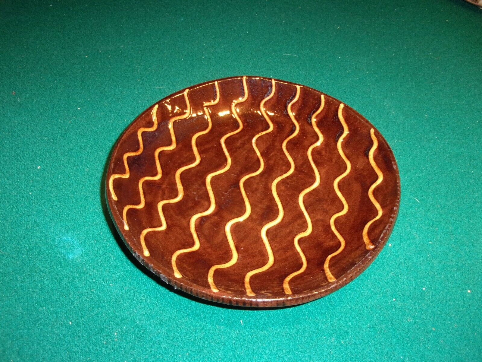VINTAGE JEFF WHITE REDWARE POTTERY DISH BOWL, SIGNED, 1989, PERFECT - $15.00