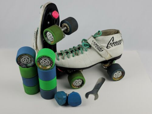 Vintage Carrera Womens Speed Roller Skates Size 10 w/ Extras  -Rude Dude 62mm