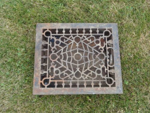 Antique Ornate Cast Iron 12 x 14 Victorian Cold Air Return Floor Grate Register