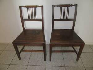 Georgian oak chairs pair