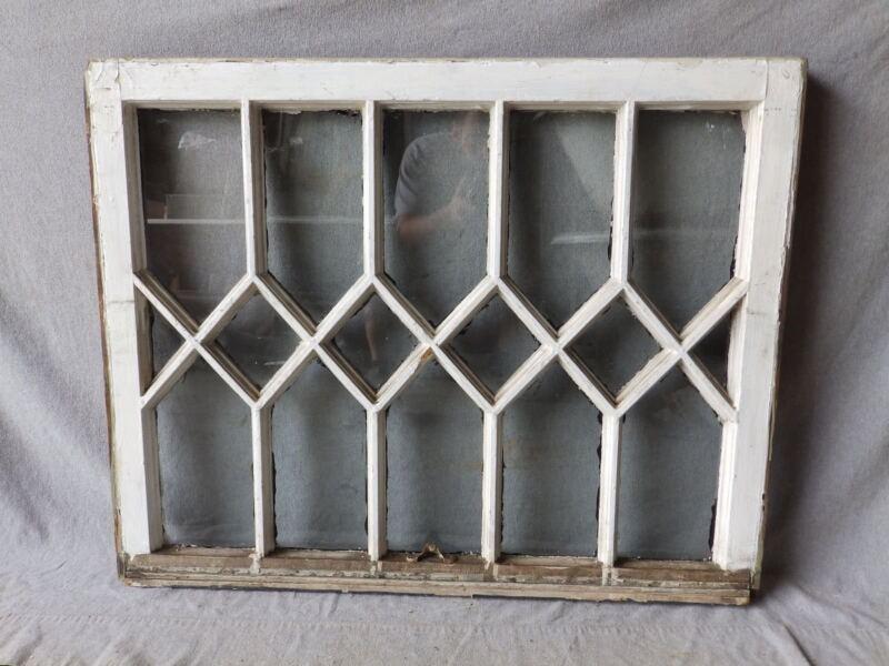 Antique Diamond Pattern Tudor Window Sash Vtg Shabby Cottage Chic 27x34 182-17P