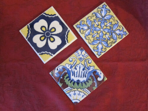 "3 Vintage Mexican Ideal Standard Ceramic Tiles  4.25""x4.25"""