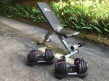 Adjustable Bowflex Dumbbells + Bench (Almost New Opportunity!) Edgecliff Eastern Suburbs Preview