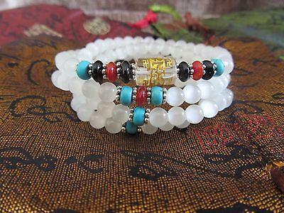 Traditional White Tibetan 108 Mala Prayer Beads Bracelet Necklace 8mm