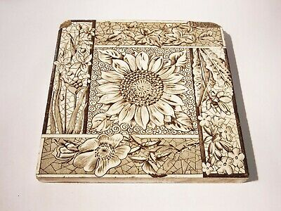 Antique Victorian aesthetic movement floral fireplace tile sunflower transfer