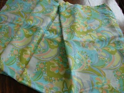 Vintage1960s psychedelic flower power nylon tricel fabric length 68