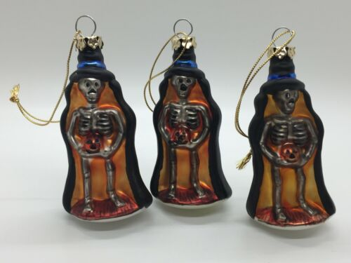 Vintage Halloween Mercury Glass Skeleton Ornaments Unsigned 1990s