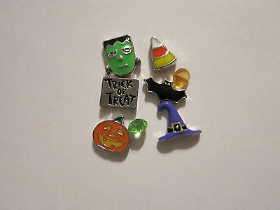 HALLOWEEN TRICK OR TREAT BAT WITCH FLOATING CHARMS SET FOR LIVING MEMORY LOCKET