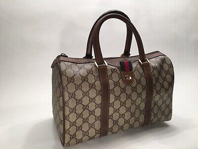Vintage Gucci Signature Accessory Collection Tan GG Boston Dr. Bag Italy