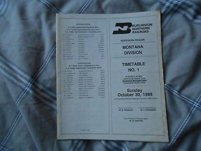 Burlington Northern Railroad - Montana Division Timetable No.1