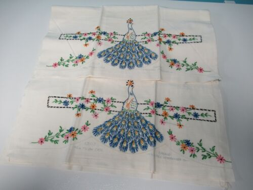 Vintage Pair of King Sized Peacock Embroidered Pillowcases to Finish
