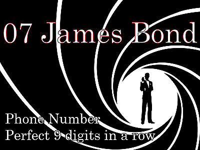 """Phonetic Mobile Phone Number: 9 digits SPELL : """"Oh Seven James Bond"""" = BRILLIANT"""