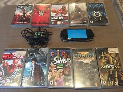 Sony PlayStation Portable PSP 1001 Bundle With 8 Games, 2 Movies + Charger