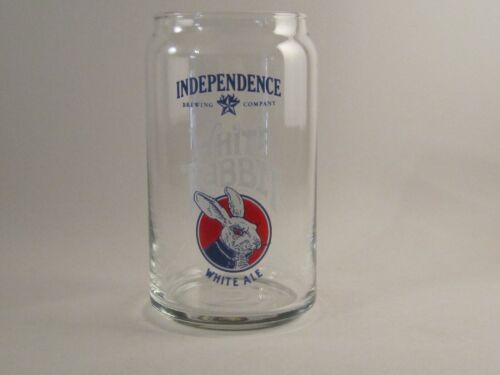 BEER CAN GLASS WHITE RABBIT INDEPENDENCE BREWING COMPANY WHITE ALE AUSTIN TEXAS